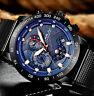 Herren Uhr Schwarz Blau Datum Edelstahl Mesh Armband 1/10 Chronograph Scheibe