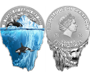 2020-Cameroon-1oz. Silver  50th Anniversary Earth Day Iceberg coin OGP