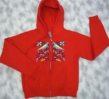 Adio Women Red Graphic Cotton Blend Zip Front Hoodie Sweat Shirt Jacket Top sz M