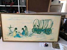 "Large DeGrazia Canvas print ""Navajo Campfire"" 1978  Double signed! Rare!"