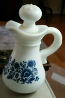 Vintage Avon blue & white bath oil bottle, empty, for kitchen bath dresser