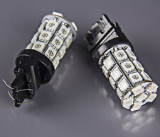 2 x Red Tail Brake Reverse Backup LED Light Bulbs Supper Bright 27-SMD 3157 3156