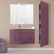 Mobile sospeso lavabo stondato 80 cm marsala con specchio e colonna bagno