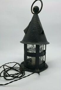 Vintage Arts and Crafts Iron Hand Hammered Crafted Hanging Lantern.