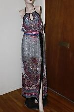 bebe HIGH-LOW PRINTED HALTER MAXI DRESS SIZE S