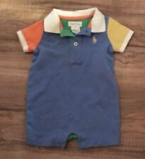 Ralph Lauren Boys Short Romper One Piece Outfit Size 3 Months Blue Green Orange
