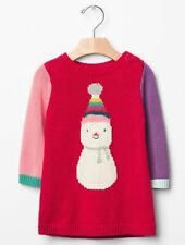 GAP Baby Girls Size 6-12 Months Snowman Christmas Holiday Festive Sweater Dress