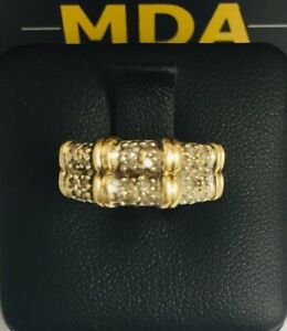 9CT YELLOW GOLD DOUBLE BAND DIAMOND RING