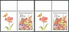 Czech Republic 2005 greetings stamps/Flowers/Butterflies 2 x 1 V (n44474)