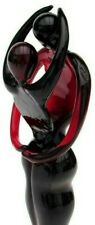 Stunning!! Murano XL 19cm Art Glass Freeform Lovers Sculpture Figure *Dark Red