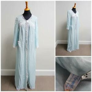 Vintage 1970s Dressing Gown Harrods Baby Blue Lace Ladies Robe Negligee 70s