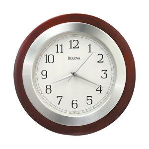 Bulova Clocks C4228 Reedham Solid Wood Arabic Numerals Wall Clock, Walnut Finish