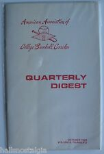 """Oct,1979 Vol. 6 No. 3 """"Quarterly Digest"""" American Assoc.of College BB Coaches"""