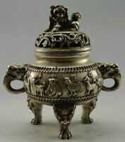 Antique china handmade Tibet Silver Chinese Zodiac Incense Burner  statue