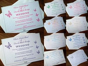 *A6 Personalised Wedding/Evening Invitation Card & Envelope *10 colours*