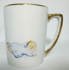 """New listing Newborn Birth 00004000  Announcement Record Cup White, Trimmed in Gold Baby in Blue 3 1/2"""""""
