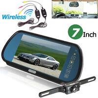 "7"" TFT LCD Car Rear View Backup Camera Mirror Monitor Wireless Parking Reverse#"