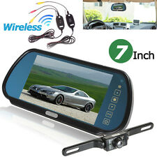 "7"" TFT LCD Mirror Monitor Car Wireless Rear View Camera Parking Reverse Kits"