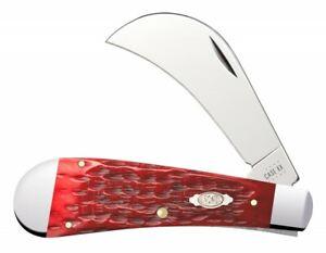 Case xx Hawkbill Knife Jigged Dark Red Bone CV Steel 31956 Pocket Knives