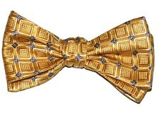 """New! Hand Made. 100% Silk GOLD Geometric SELF TIE Bow Tie. 2.5"""" wide."""