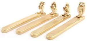Resin Cast Gold Coloured Laughing Chinese Buddha Incense Holder (T80)