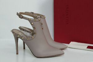 New sz 7.5 / 37.5 Valentino Garavani Nude Rockstud Pointed toe Ankle Boot Shoes