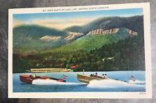 New listing Vintage Speed Boats Boat Lake Lure Nc American Flag Unused Linen Postcard