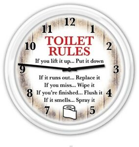 Bathroom Wall Clock - Rustic Country Decor Toilet Rules  Humor FUNNY GIFT