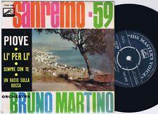 BRUNO MARTINO SanRemo 59 Danish EP 45PS 1959 Eurovision Piove