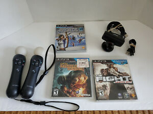 Sony PlayStation 3 PS3 PS4 PS Move Bundle - 2 Controllers + Camera + 3 Games
