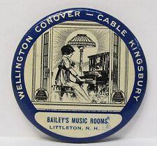 c. 1910 WELLINGTON CONOVER CABLE KINGSBURY PIANO Littleton NH pocket mirror *