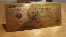 Billet 50 Dollars gold commémoratif gravé plaqué or 24k