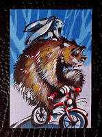 """Original art by Bastet """"Bear and Hare on Bicycle"""" OOAK hand painted ACEO"""