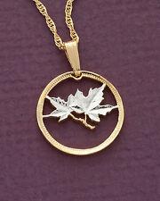 "Canada Maple Leaf 1 Cent Pendant Necklace. Handcut coin - 3/4"" Dia.( # 49 )"