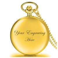 Personalised Gold Pocket Watch and Chain Wedding Valentine's Birthday numbers UK
