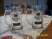 Bacardi Oakheart Smooth Spiced Rum Vintage Beer Style Handled Mugs Set Of 2