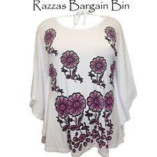 New Ladies White Floral Batwing Top Plus Size 22AU/22-24UK (9779A)KY