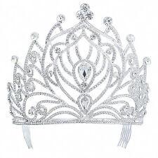 TQE58 Clear Rhinestone Crystal Alloy Holy White Tiara Vintage Princess Crown
