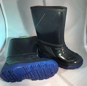 Rain Boots Black/Blue Soles  Waterproof Rain Boots  Boys Size 10