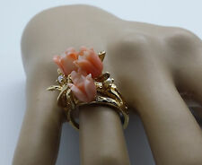 Vintage Carved Coral Flowers & Seed Pearl 14k Gold ring Size O.