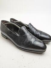 John Lobb Black Leather Plain Toe Smoking Loafers Shoes Sz 11