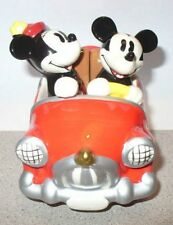 DISNEY MICKEY & MINNIE MOUSE SALT & PEPPER SHAKERS SITTING IN A RED CAR SET~NEW~