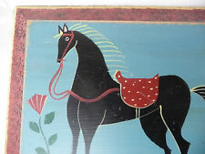 Signed Wendy Presseisen (NY) Original Folk Art Painting Black Horse - Wood Panel