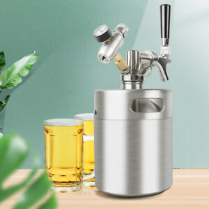 2L Stainless Steel Beer Mini Keg Portable Mini Keg Dispenser Kit Home Brew Beer