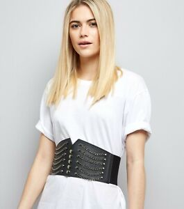 LADIES NEW LOOK BLACK & GOLD CHAIN CORSET BELT SIZE S/M BRAND NEW & TAGGED