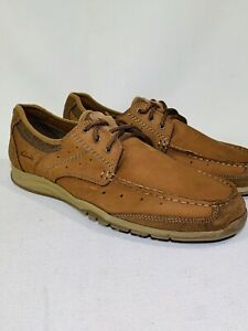 Clarks Armada Tan Leather Nubuck Lace Up Boat Shoes Oxfords 63627 US Men's 11.5