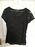 BANANA REPUBLIC WOMENS BLACK LACE TOP BLOUSE SIZE 8 XS SHORT SLEEVE FLORAL