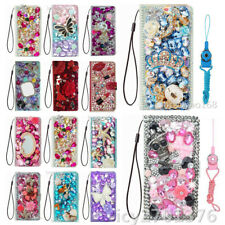Flip Leather Phone Cases Bling diamonds stand wallet covers & straps For Moto A