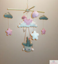 Mobile bébé Artisanal Eléphant et nuages / Mobilier pour enfant French Art 🇫🇷
