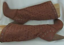 GUESS Russet Brown Perforated Leather Knee High Western Style Boots 8.5M